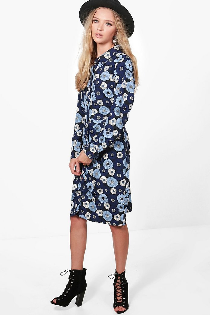 Felicity Long Sleeve Floral Midi Shirt Dress