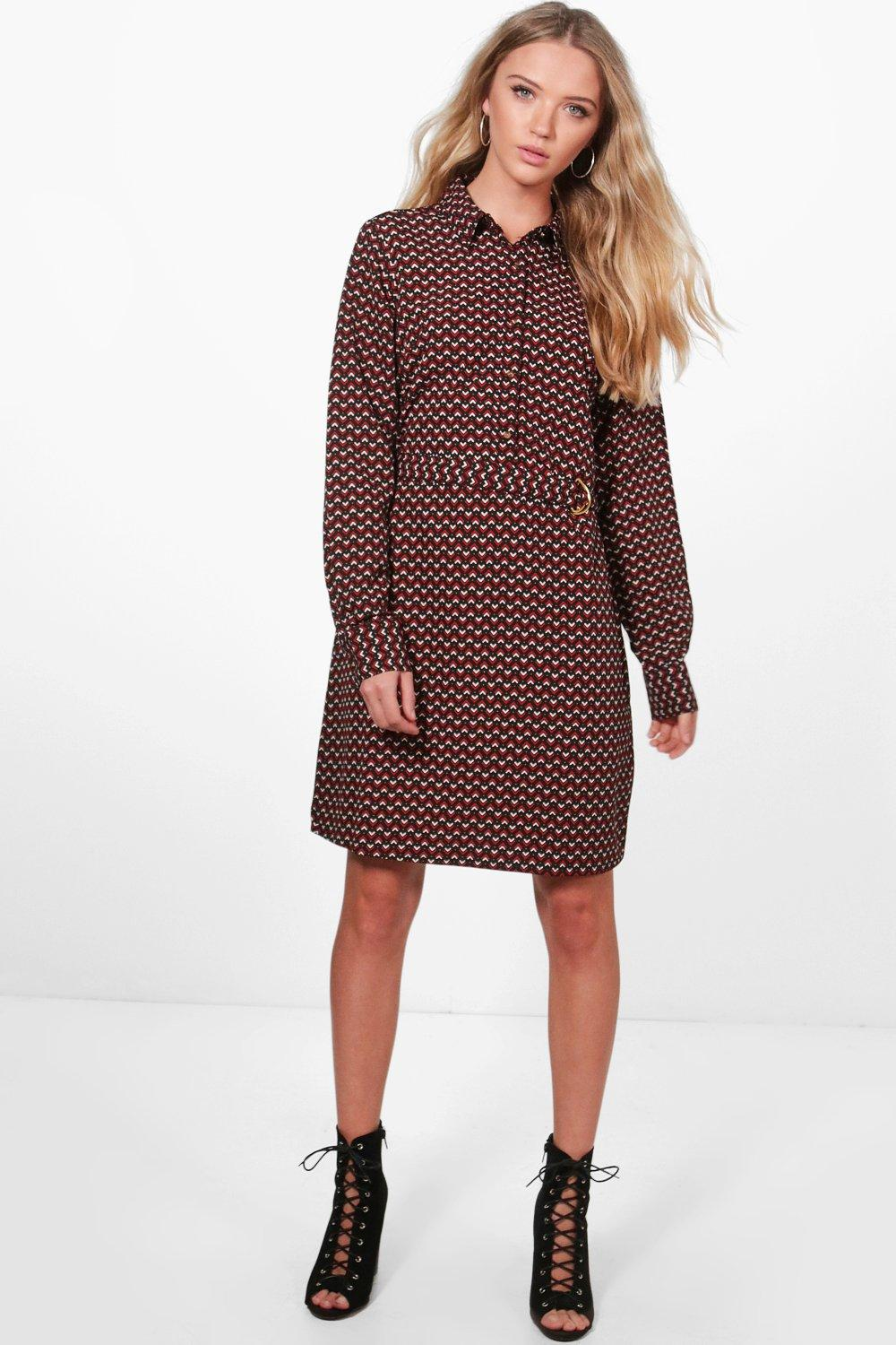 Geo Print Belted Shirt Dress  red