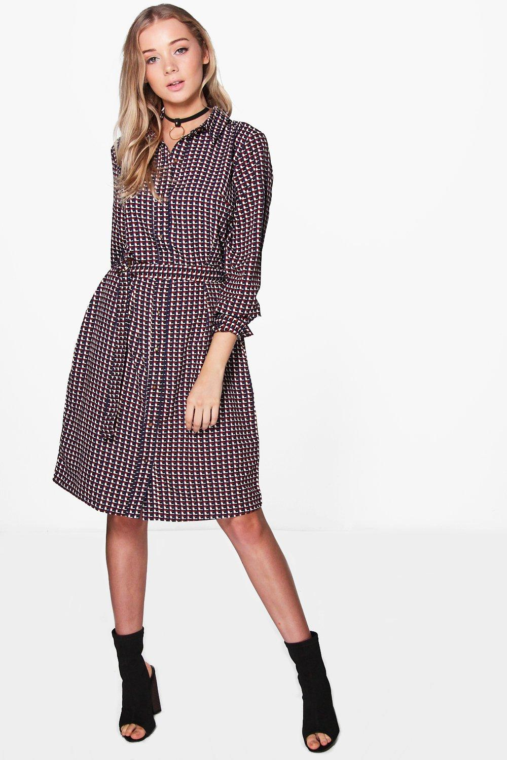 Geo Print Belted Shirt Dress  burgundy