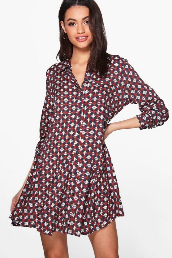Caprice Long Sleeved Printed Shirt Dress