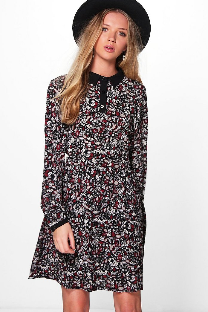 Moria Long Sleeved Printed Shift Dress
