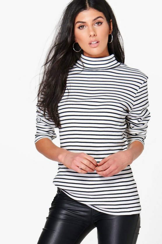 Ivy Stripe Roll Neck Top