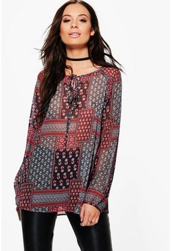 Clara Printed Lace Up Smock Top