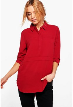 Emily Half Placket Solid Shirt