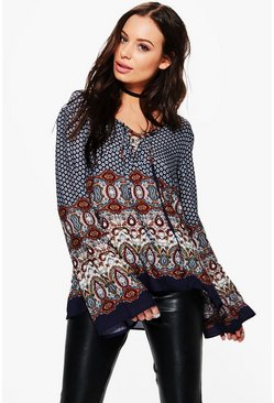 Helen Border Print Lace Up Front Blouse