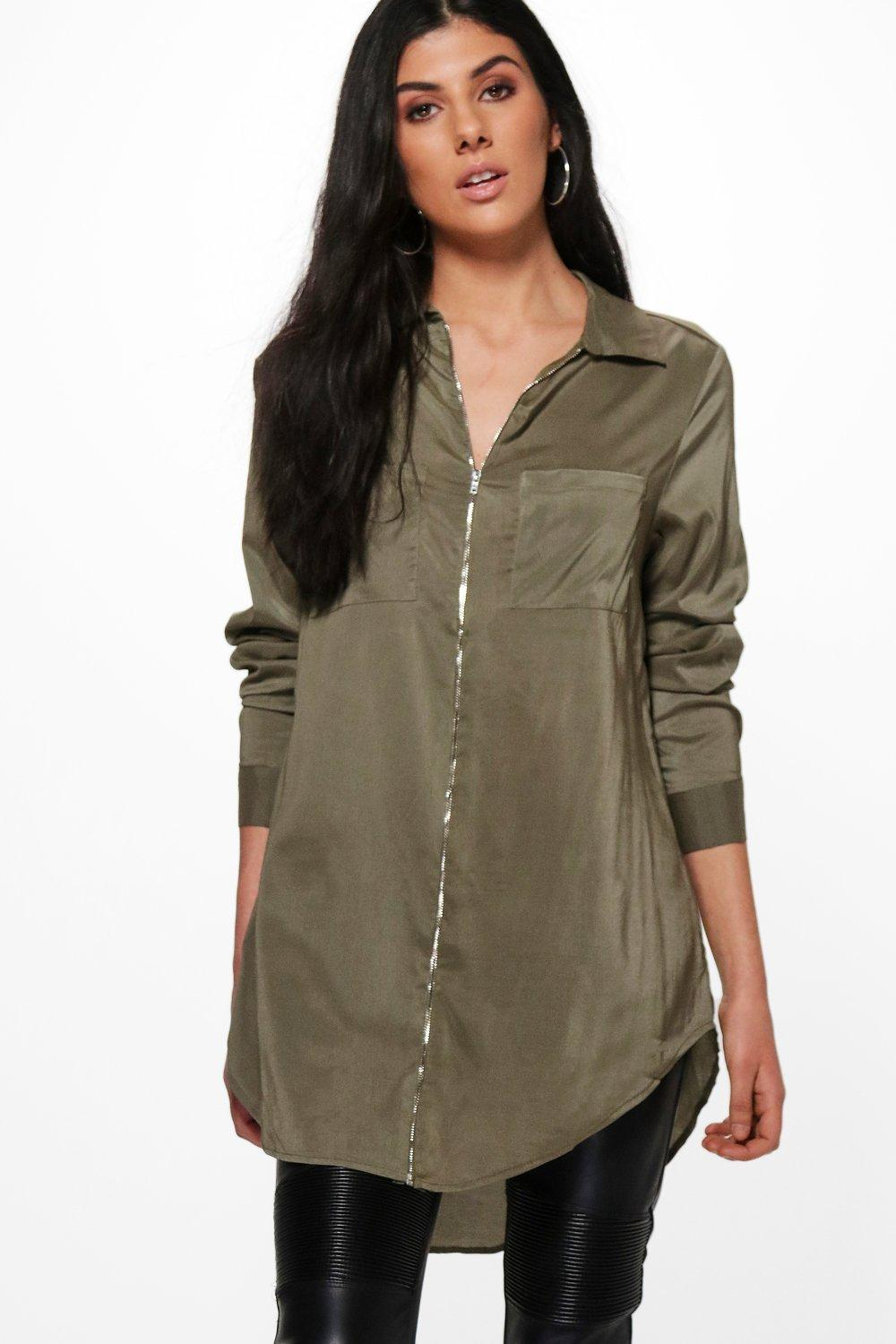 Long Sleeve Zip Front Shirt  khaki