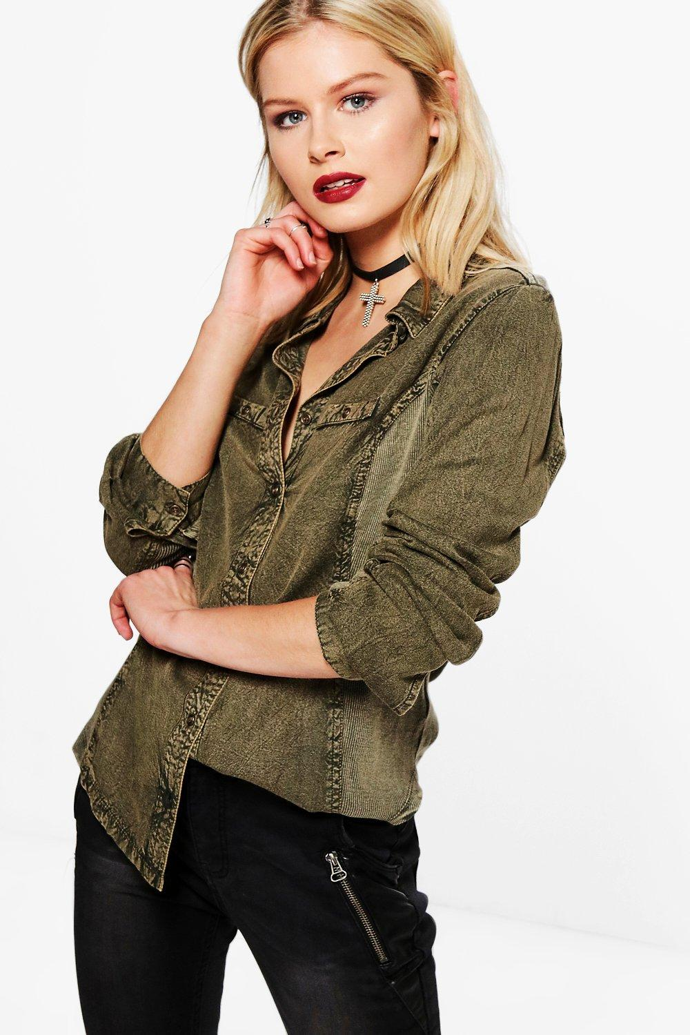 Denim Wash Long Sleeve Shirt  khaki