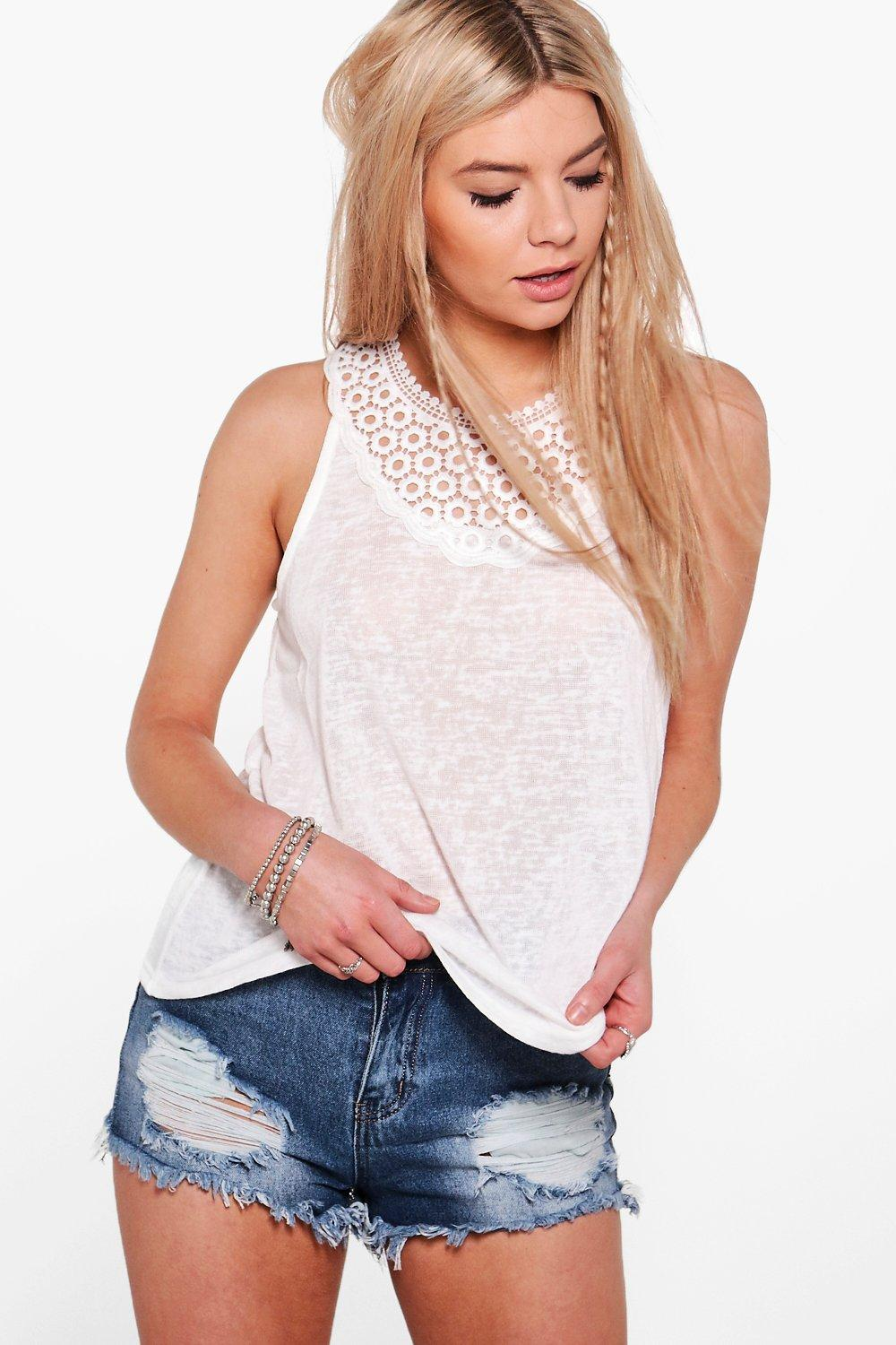 Leah Crochet Detail Sleeveless Top