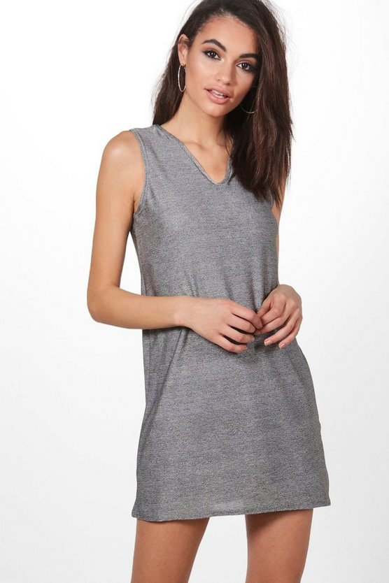 Rockie Metallic V Neck Shift Dress