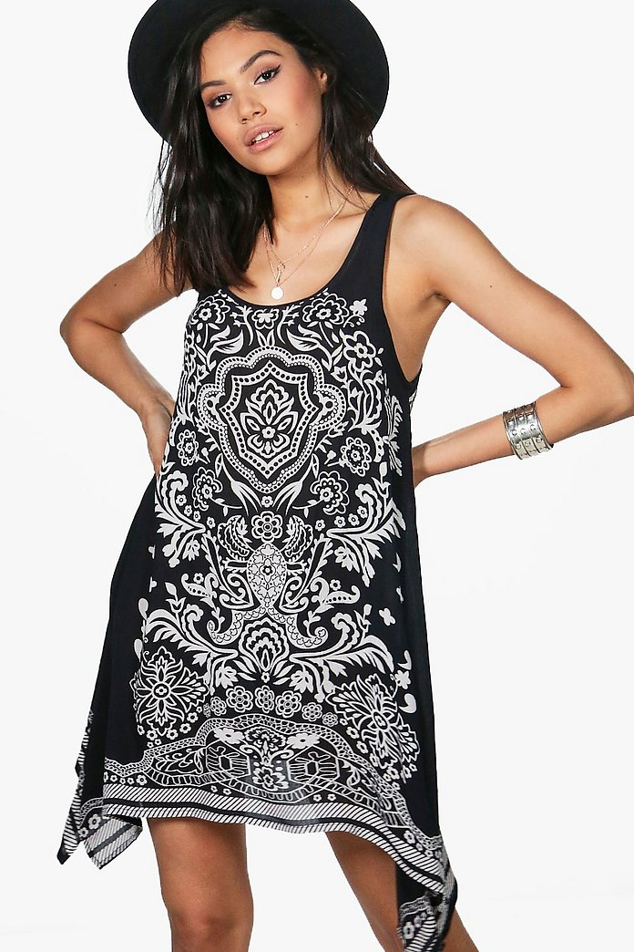 Posey Placement Print Shift Dress
