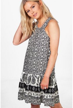 Rachel Border Print Shift Dress