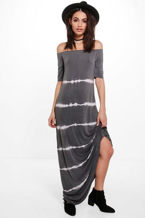 Shahad Off Shoulder Tie Die Maxi Dress