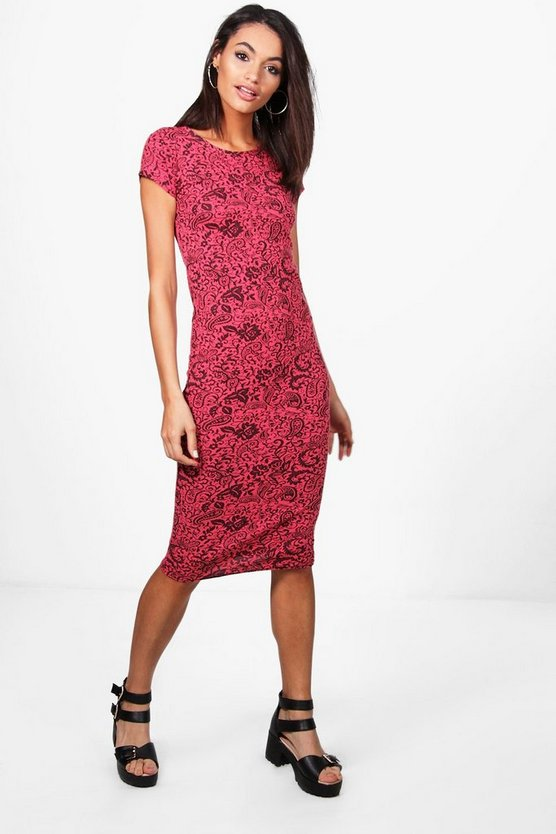 Tabbie Jacquard Cap Sleeve Bodycon Dress