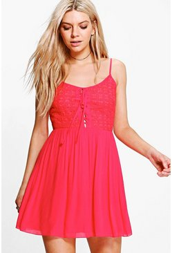 Ashton Lace Up Detail Skater Dress
