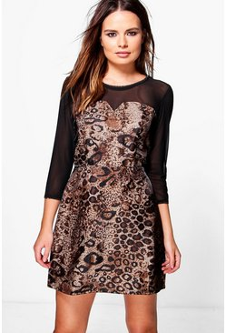 Bailey Mesh Panel Leopard Skater Dress