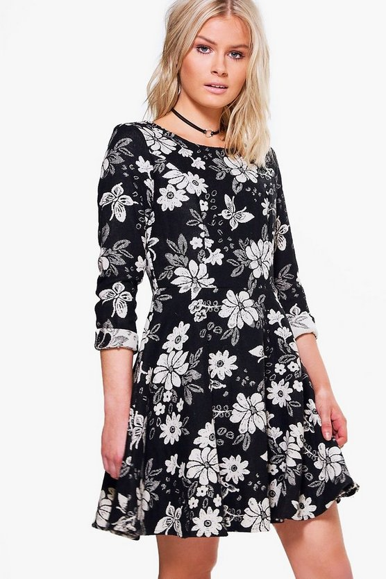 Barley Jacquard Floral Skater Dress