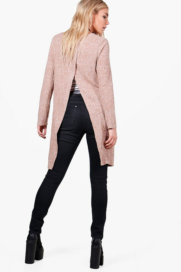 Eliza Split Back Rib Knit Cardigan