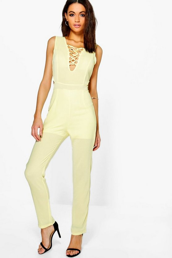 Gemma Lace Up Front Chiffon Jumpsuit
