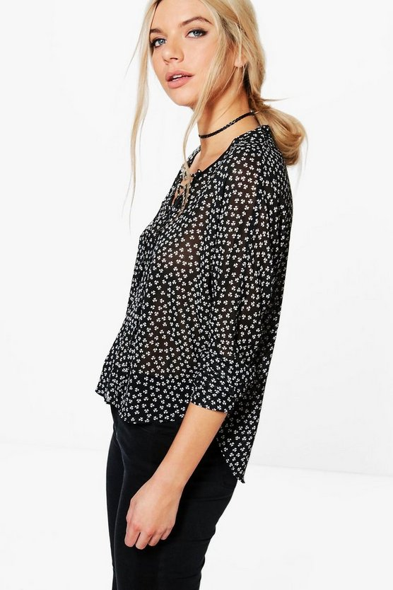 Jane Lace Up Printed Blouse