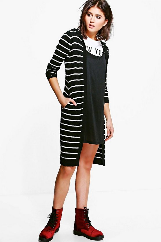 Savannah Stripe Longline Hooded Cardigan