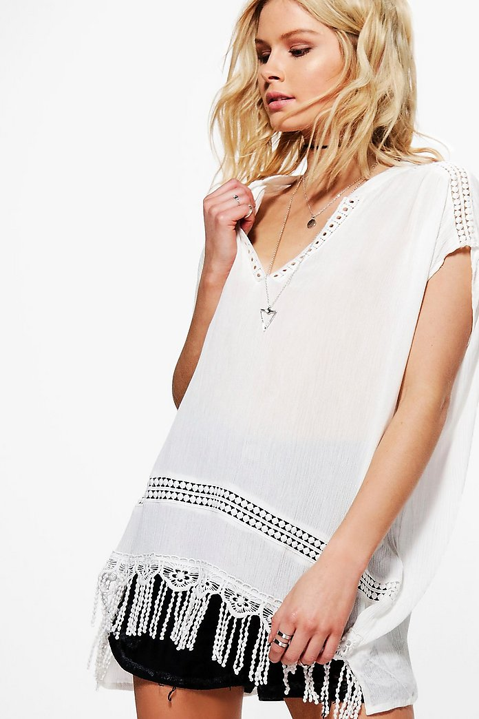 Molly Crochet Tassel Blouse