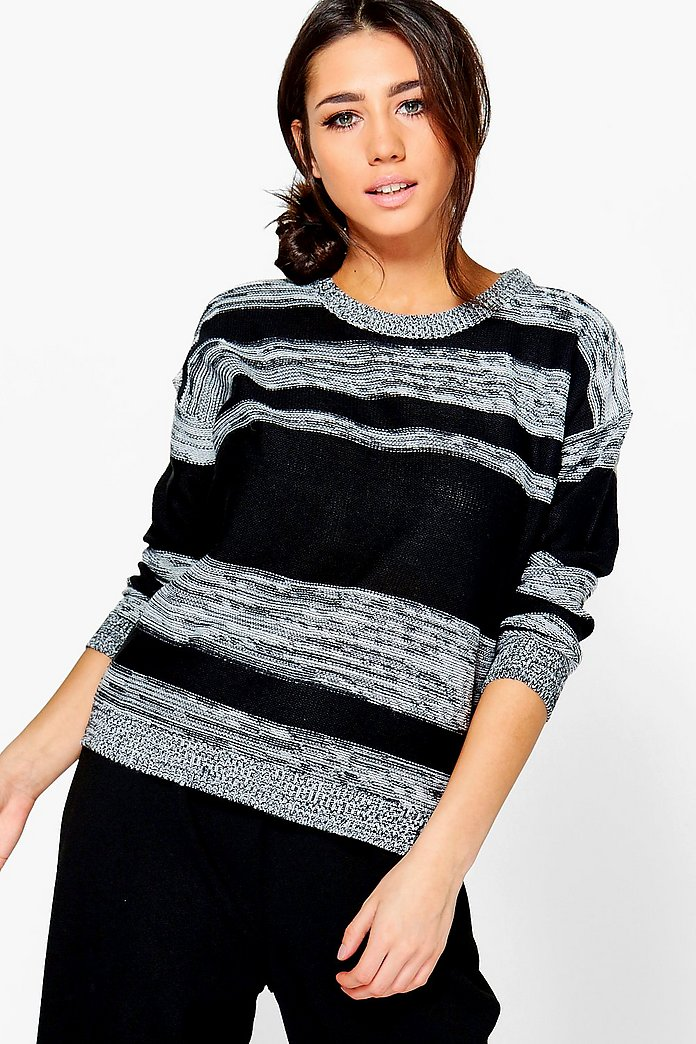 Evie Marl Mix Solid Stripe Jumper
