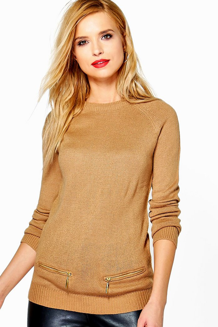 Caroline Raglan Sleeve Jumper With Mock Pocket Zippers