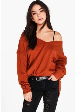 Layla V-Neck Loose Fit Jumper With Split Side Seams