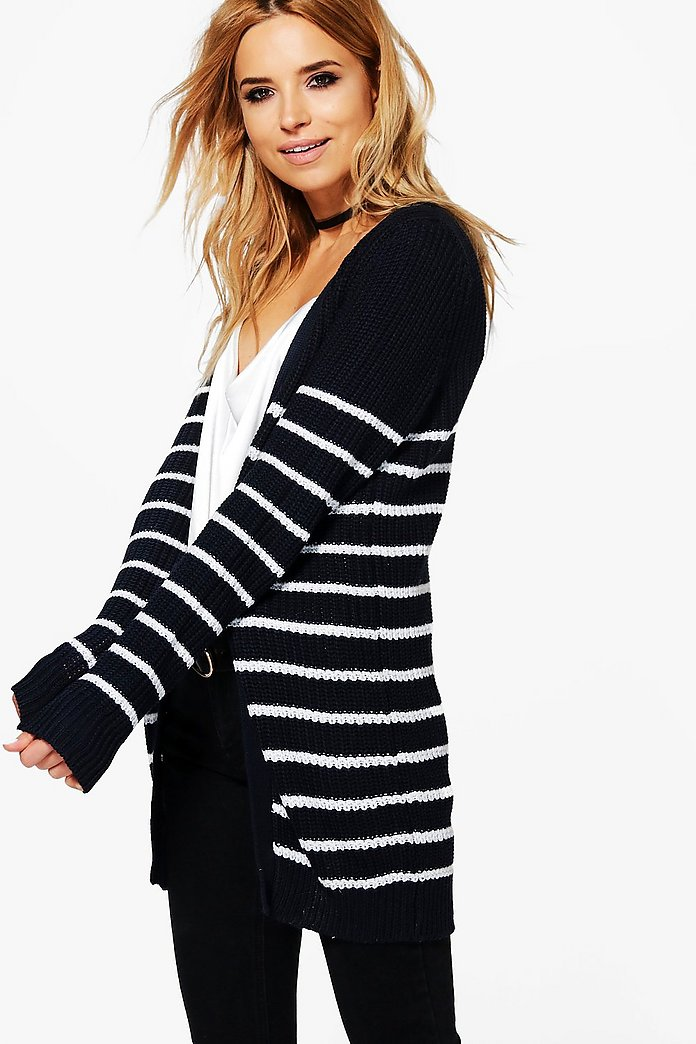 Milly Edge To Edge Waffle Stitch Stripe Cardigan