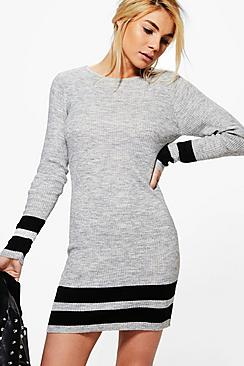 Jasmine Ribbed Slim Fit Striped Knitted Dress