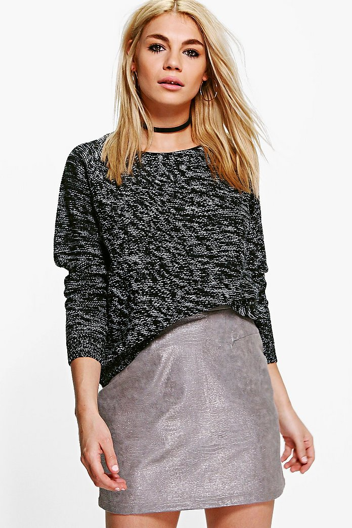 Florence PU Neck Trim Reverse Knit Jumper