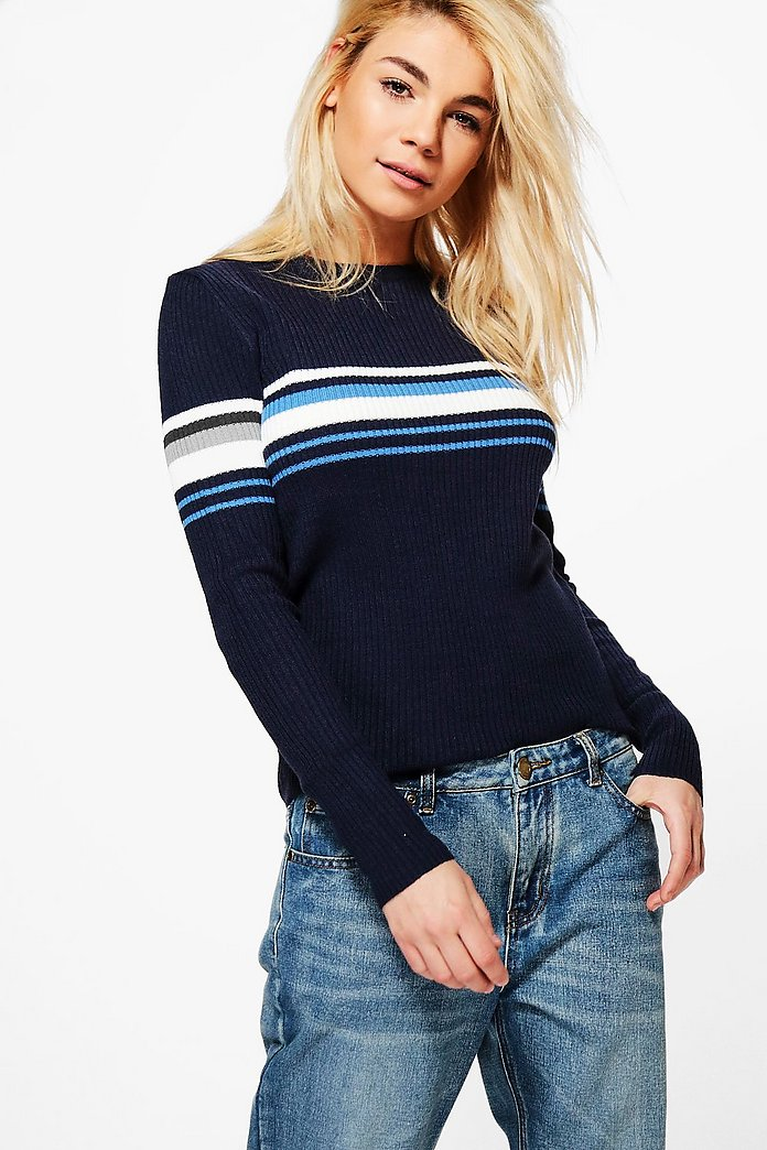 Darcey Ribbed Crew Neck Sports Stripe Jumper