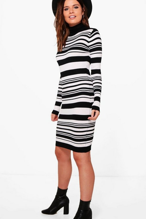 Georgina Striped Roll Neck Knitted Dress