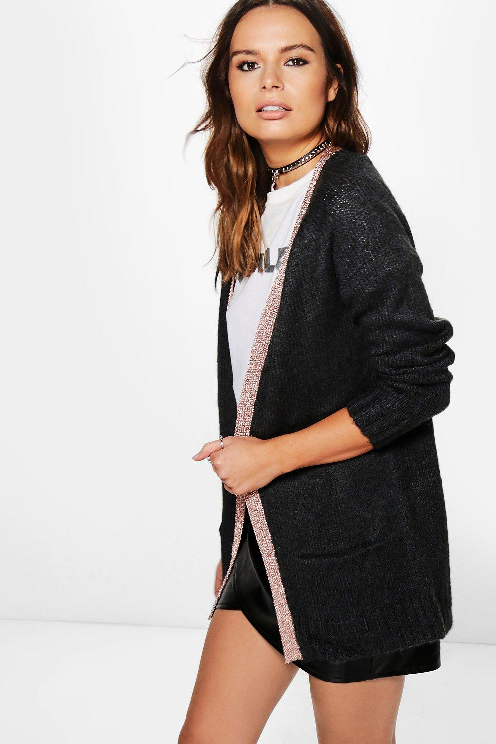 Rebecca Open Front Cardigan With Metallic Placket