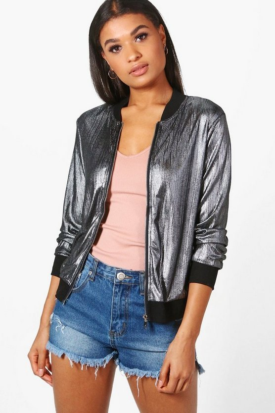 Zoe Metallic Bomber Jacket