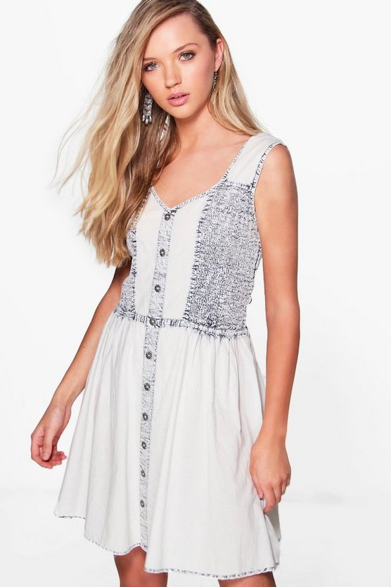 Mel Woven Denim Look Skater Dress