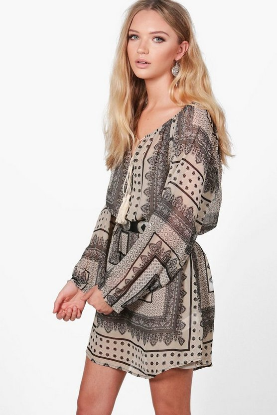 Ivy Long Sleeve All over Printed Shift Dress