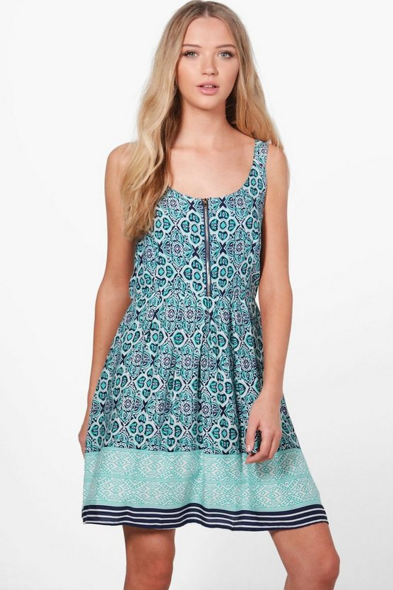 Ginny Printed Zip Detail Skater Dress