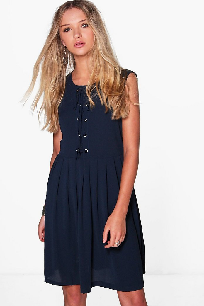 Evie Eyelet Detail Sleeveless Shift Dress