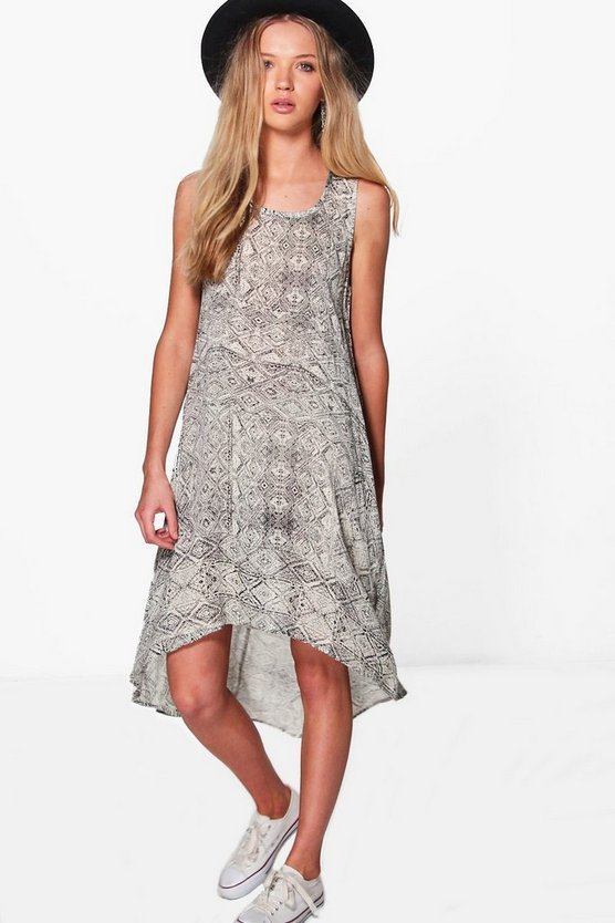 Leigh Printed Dip Hem Cut Out Swing Dress