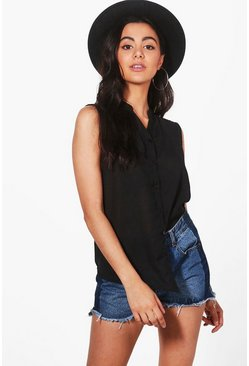 Hattie Dip Hem Sleeveless Shirt