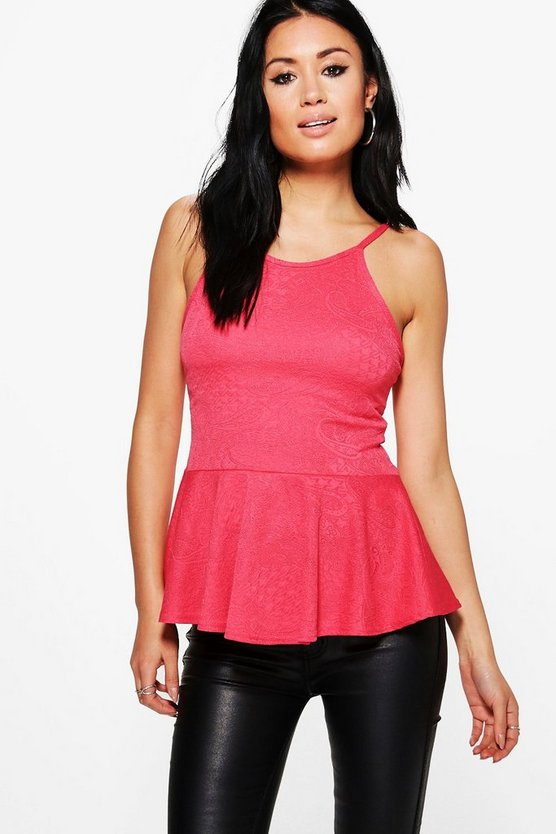 Aria Textured Jacquard Peplum Top