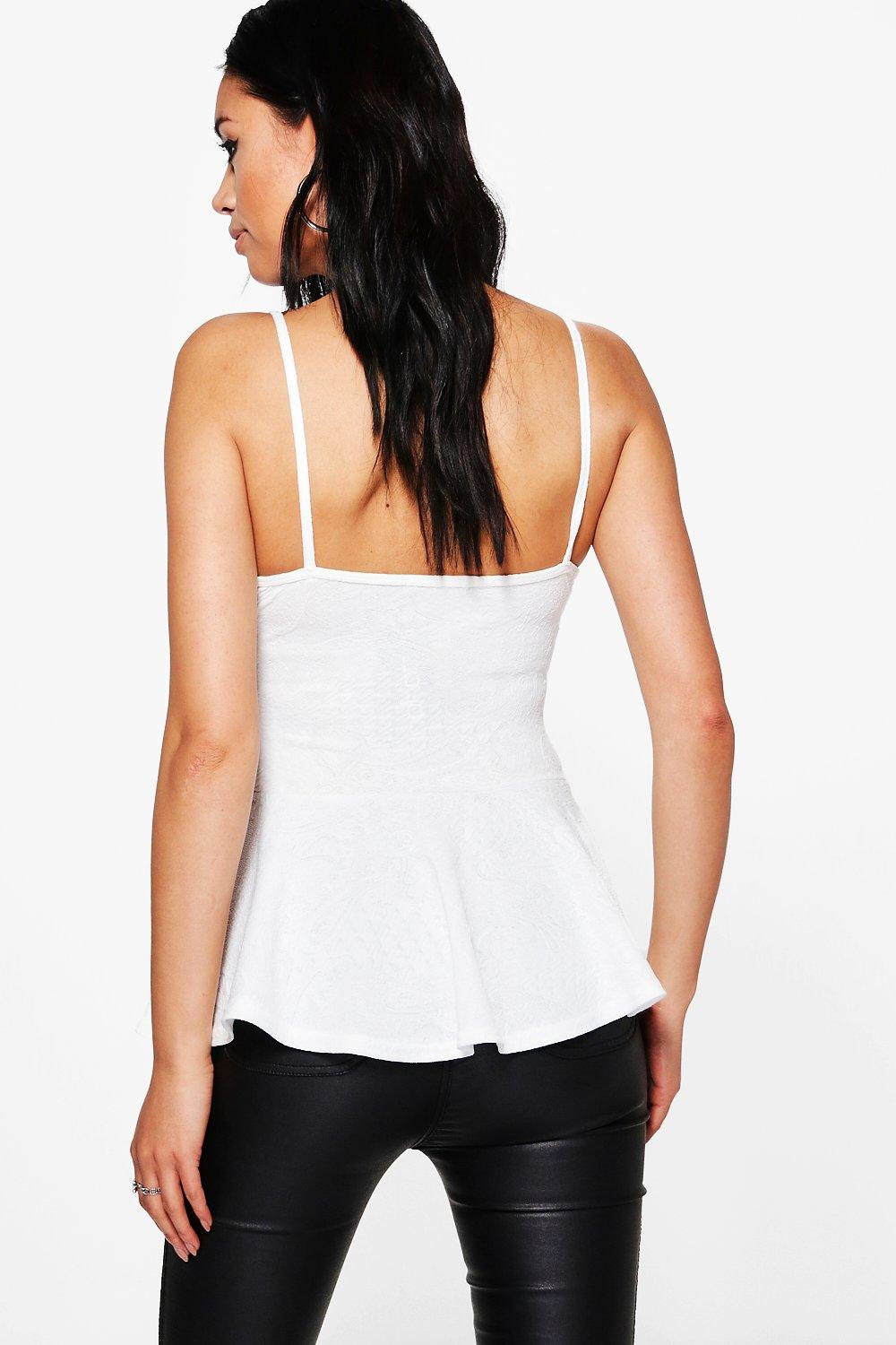 NEW-Boohoo-Womens-Aria-Textured-Jacquard-Peplum-Top-in-Polyester