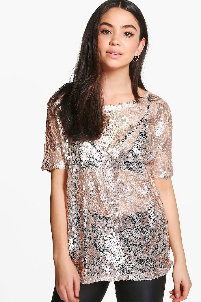 Charlie Oversized Sequin Body Tee