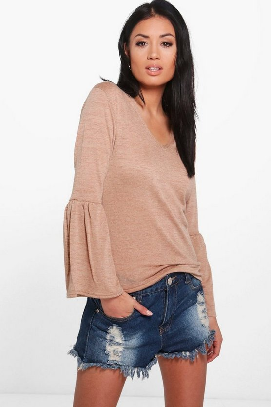 Rose Flute Sleeve V Neck Top