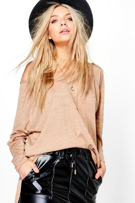 Lauren Oversized Slash Neck Slub T-Shirt