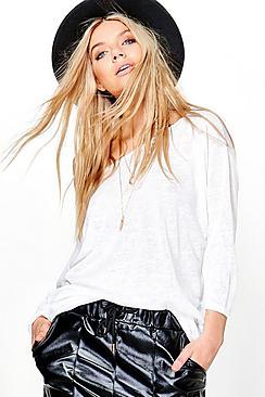 Lauren Oversized Slash Neck Slub T-Shirt
