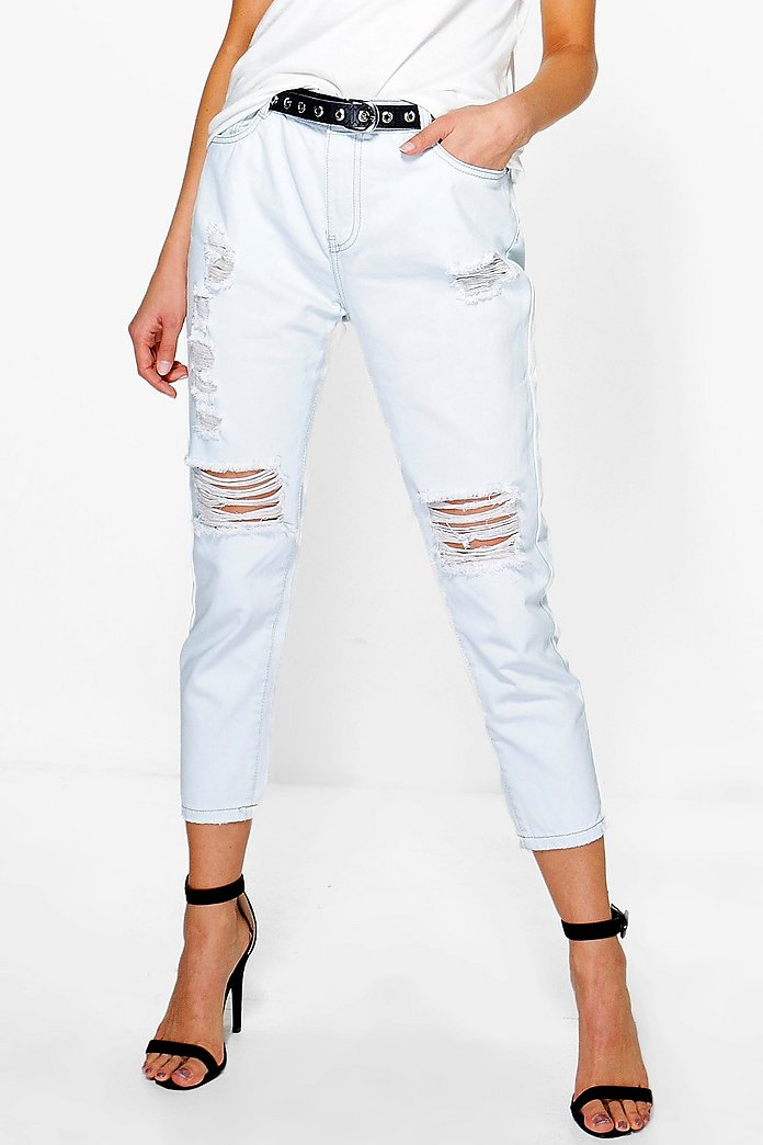 Aliya Distressed Stone Wash Jeans