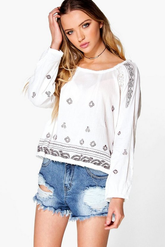 Elise Printed Scoop Neck Top