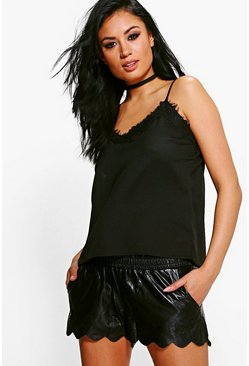 Nicky Faux Leather Runner Shorts